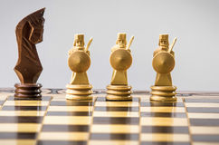 Chess figure  on the grey. Chess figure on the desk  on the grey background Stock Photos