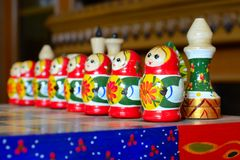 Chess figure nesting doll. Matryoshka. Royalty Free Stock Photo