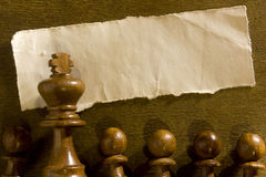 Chess figure and shred paper Royalty Free Stock Photography