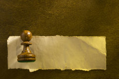 Chess figure and shred paper Stock Photo