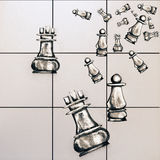 Chess figure sketchings. Creative chess figure sketchings on tile background. 3D Rendering Royalty Free Stock Image