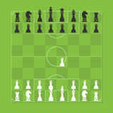 Chess Figure Stylized Soccer Tactic Table. Chess Board with Chess Figure Stylized Soccer Tactic Table Stock Image
