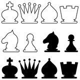Chess figures. Set of silhouette images of chess figures Royalty Free Stock Image