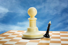 Chess figures. Big pawn and little king on the chess board Stock Image