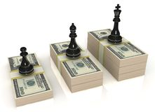 Chess figures (black king, queen and pawn) standin. Chess stand on the money, the business grows Royalty Free Stock Photography