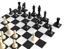 Chess Figures and Board. Chess pieces in a war  on chess board, isolated on white background Stock Photos