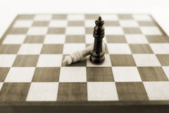 Chess figures on board. Sepia royalty free stock photos
