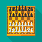 Chess figures and board set in flat style. Chess figures and board set in flat modern style for design concept and web design. Vector illustration Stock Image