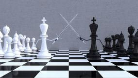 Chess figures business concept 3d render. 3d illustration Royalty Free Stock Images