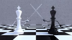 Chess figures business concept 3d render. 3d illustration Royalty Free Stock Photo