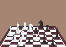 Chess figures on a chess board. Vector illustration Stock Photography