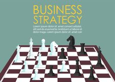 Chess figures on a chess board infographic. Concept of business competition Stock Image