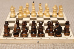 Chess figures on chessboard Stock Photography