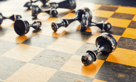 Chess figures defeated Royalty Free Stock Images