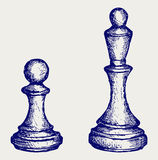 Chess figures. Doodle style Royalty Free Stock Photography