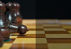 Chess figures with empty space for text Stock Photo