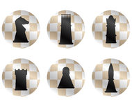 Chess figures icon set. Cheese strategy and chess pieces, chess king and playing chess game, king and queen, bishop and knight or pawn and rook. Vector flat Stock Images