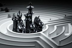Chess figures inside labyrinth maze, 3D rendering. Chess figures inside labyrinth maze, 3D Royalty Free Stock Images