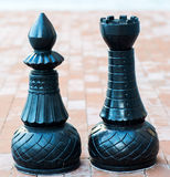 Chess figures outdoor. Royalty Free Stock Photos