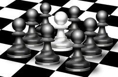 Chess figures of pawn on a board Stock Photo