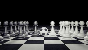 Chess figures play soccer business concept 3d render. 3d illustration Royalty Free Stock Photo