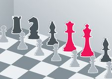 Chess figures with red king and queen Royalty Free Stock Photos