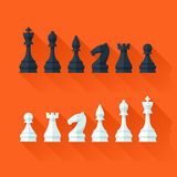 Chess figures set in flat modern style for design concept. Royalty Free Stock Photos