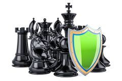 Chess figures with shield. Security and protect or insurance con. Cept, 3D Stock Photography