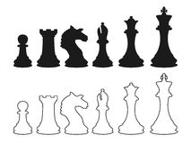 Chess figures silhouette. Chess figures, chess silhouette, chess game, chess icons, chess set, chess signs and chess design Stock Photo