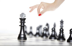Chess figures - strategy and leadership Royalty Free Stock Photography