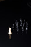 Chess figures strategy over black background Royalty Free Stock Photography