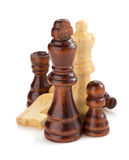 Chess figures on white Royalty Free Stock Photography