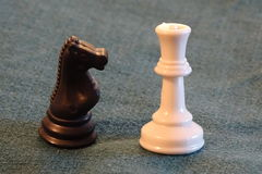 Chess figurines in detail, black and white Royalty Free Stock Photos