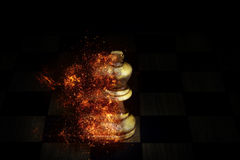 Chess in the fire on black background Royalty Free Stock Photo