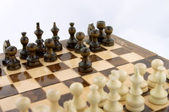 Chess first move. Chess black player makeing the first move Royalty Free Stock Photos