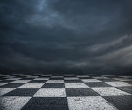 Chess floor and dark sky background Stock Photo