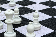 Chess floor on landscape Royalty Free Stock Images