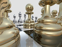 Chess Focus. A 3D chess board with golden and silver pieces placed on a reflective background Stock Photography