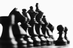 Chess focus on the back queen. Close up of black chess pieces foucs on the queen royalty free stock photography