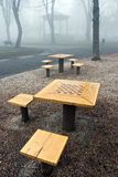 Chess in the fog Stock Photo