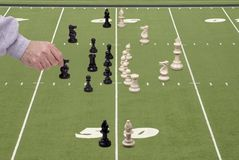 Chess Football with Defensive Coach Royalty Free Stock Photography