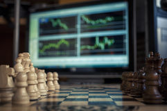 Chess and forex Royalty Free Stock Photography