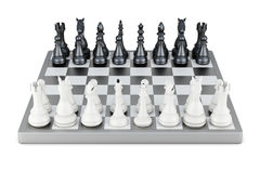 Chess front view  on white background. 3d rendering.  Royalty Free Stock Image