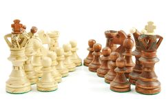 Chess game. Chess pieces isolated on white background - symbol of strategy Stock Photo
