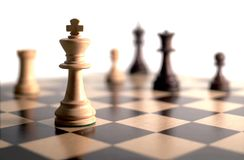 Chess game. Chess pieces on board - white background Royalty Free Stock Photo