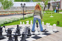 Chess game. Big chess game on garden Royalty Free Stock Images