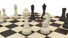 Chess game. With king and knight on the front Royalty Free Stock Photography