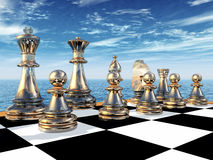 Chess Game. Computer generated 3D illustration with a chessboard and figures Royalty Free Stock Photo
