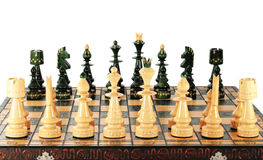 Chess game. Chessboard with all their pieces ready to start game  with clipping path Royalty Free Stock Photo