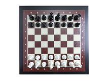 Chess game. Chessboard with rows of white and black chess figures shot from above Royalty Free Stock Photo